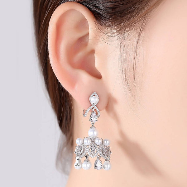White Pearl & Cubic Zircon Crystal Drop Earring - Saverah Village