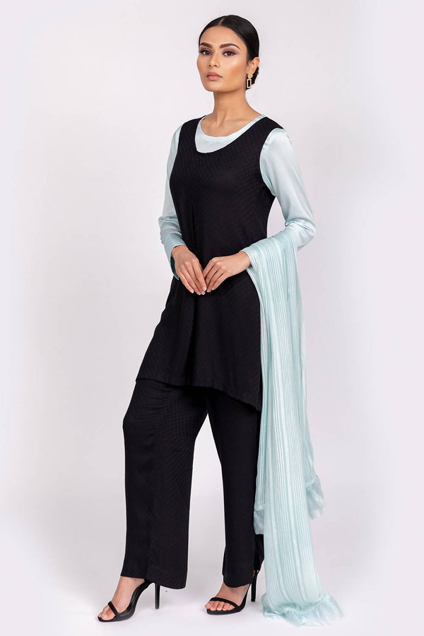 Black Tunic with Wide Legged Trousers - hum hum London