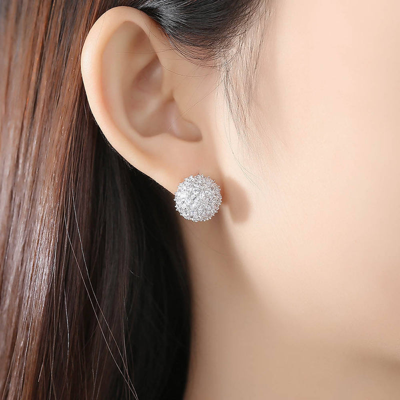 Flower Ball Zirconia Earrings Stud - Saverah Village