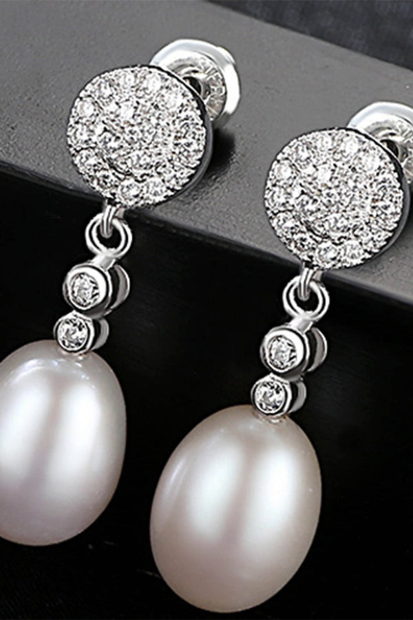 Sterling Silver Freshwater Pearl Drop Earrings - Saverah Village