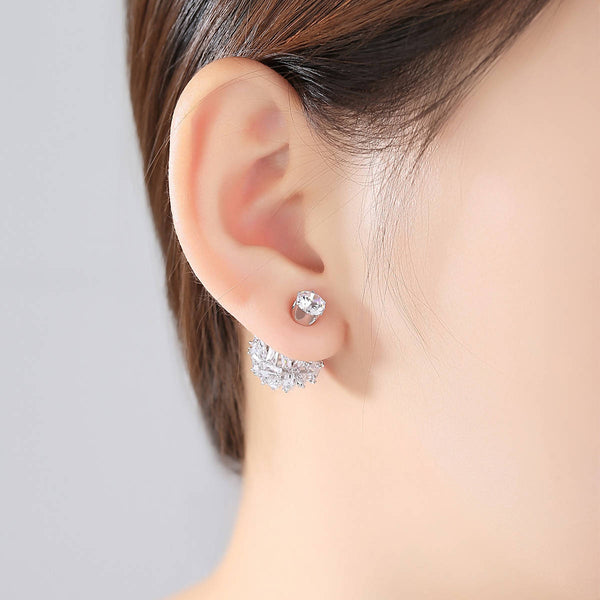 Double sided black cuboid stud Earrings - Saverah Village