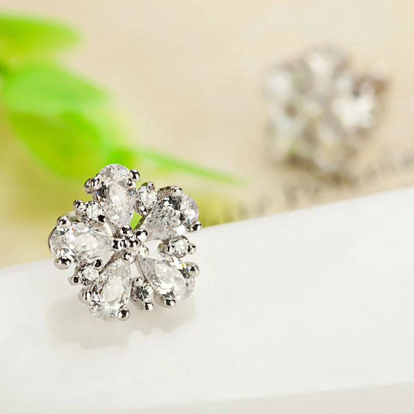 White Stone Stud Earrings - Saverah Village