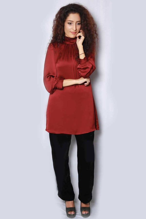 Maroon Silk Tunic - hum hum London