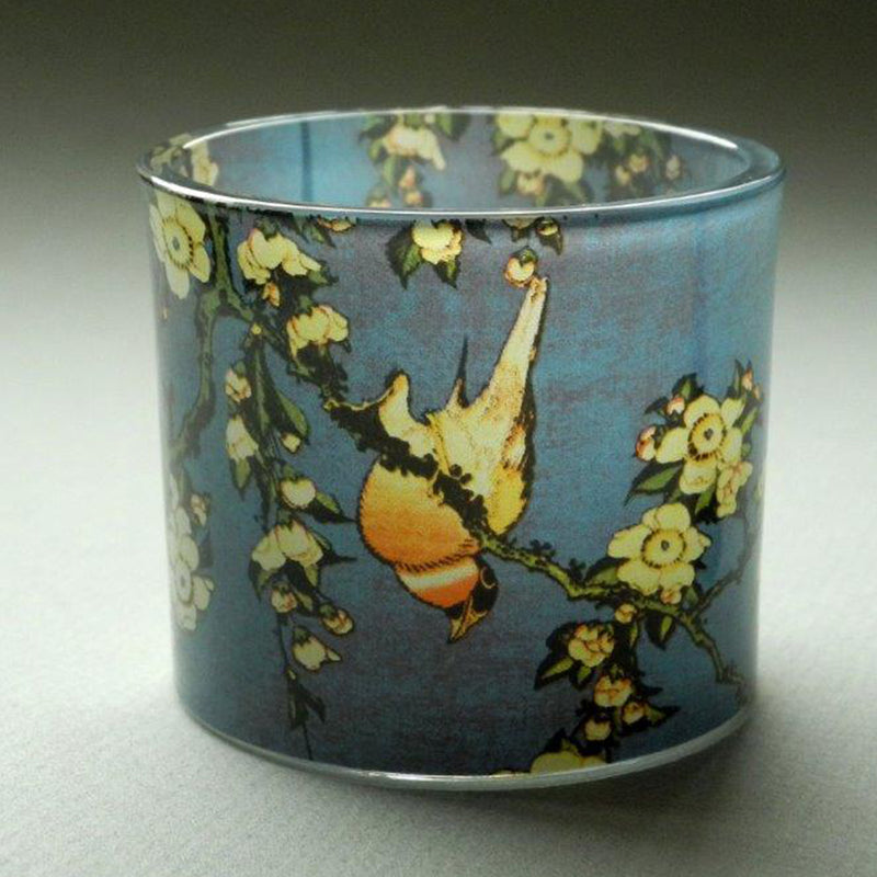 Hokusai Bullfinch & Blossoms Glass T-Light - Designer Studio