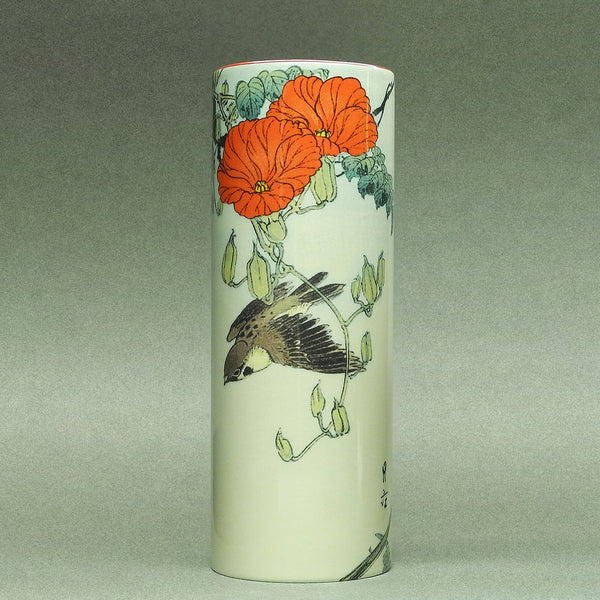 Hokusai Sparrow with red Flowers Vase - Designer Studio