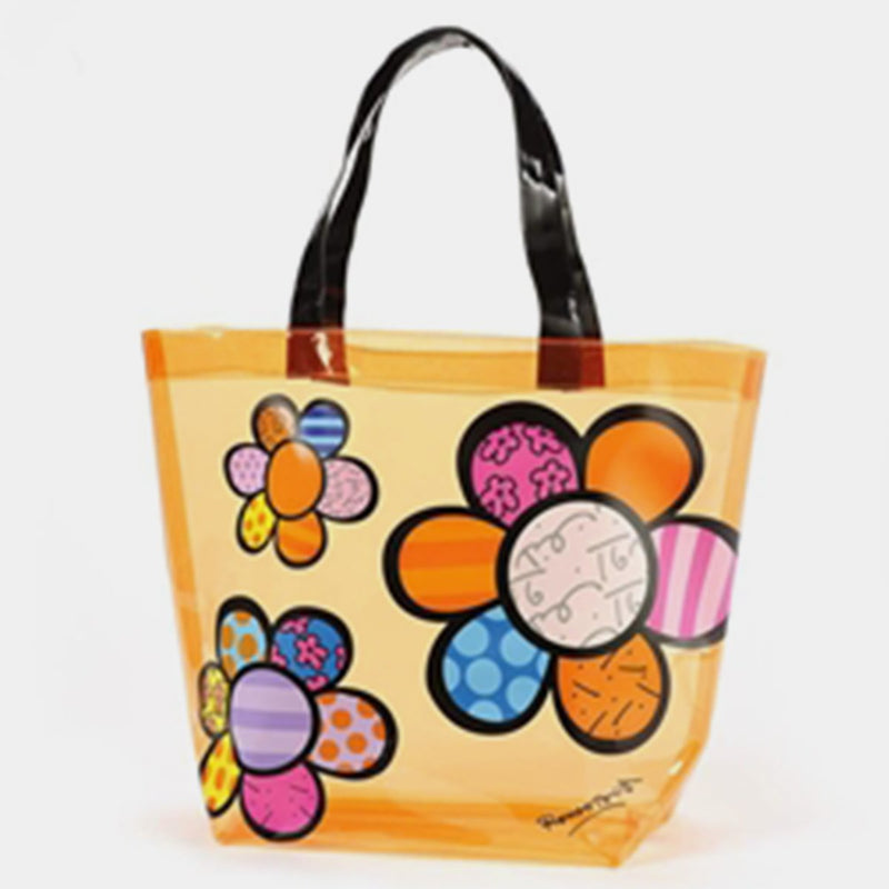Britto Orange Tote Flowers - Designer Studio
