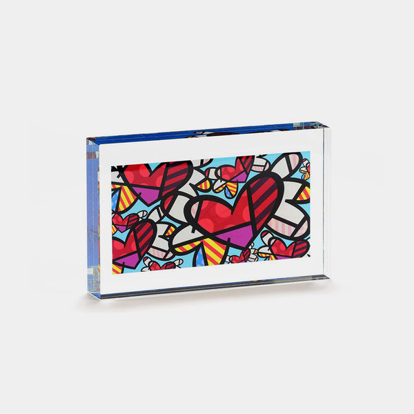 Britto Heart Glass Block - Designer Studio