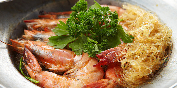 Baked Pasta Prawns with Thai Glass Noodle