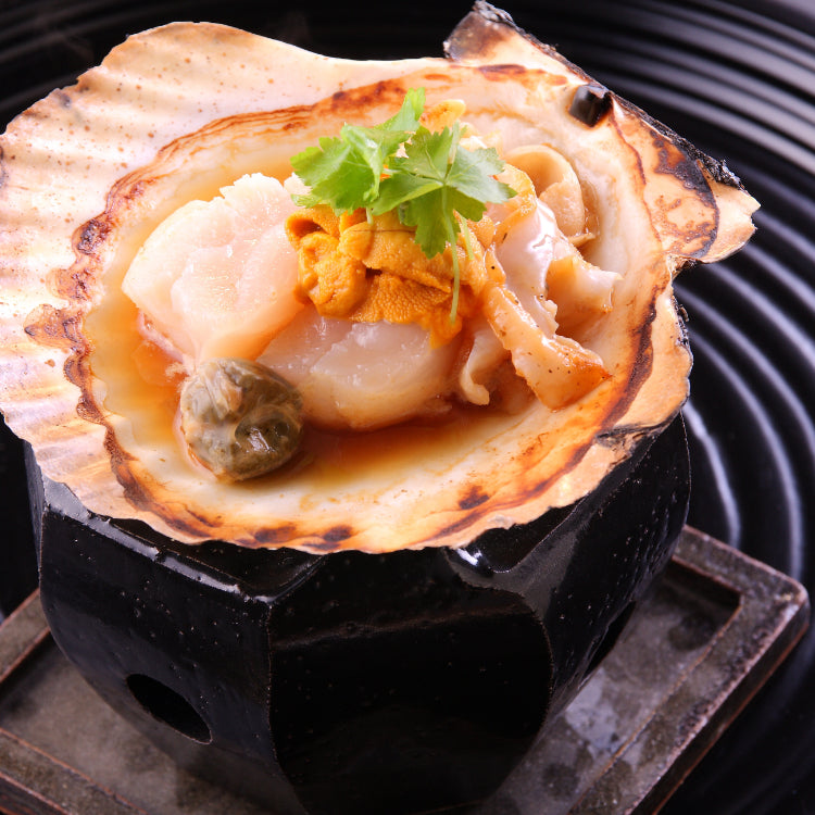 Teppan Hokkaido Hotate with Sea Urchin from Teppan Kappou Kenji at Tanjong Pagar, Singapore