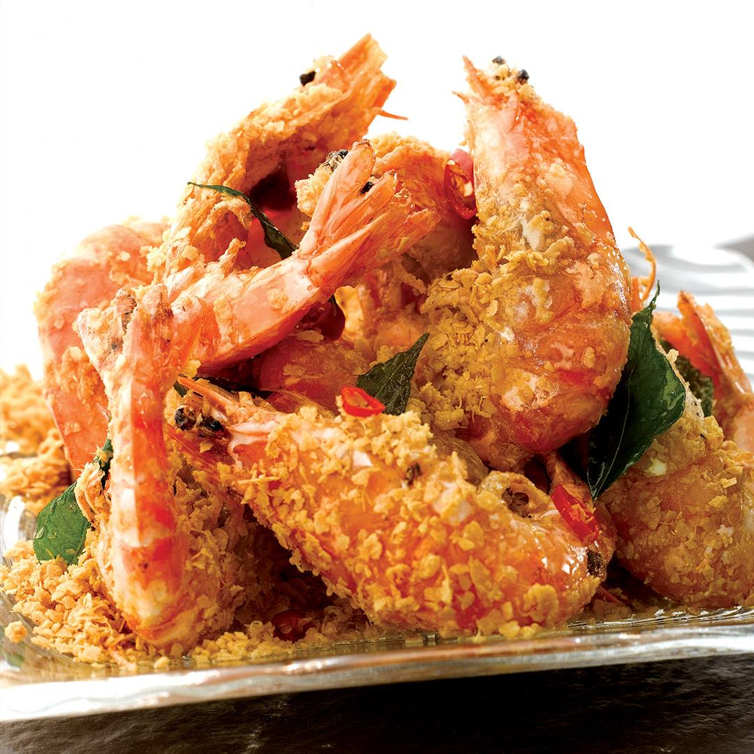 Live Prawns Fried with Cereal ($24)