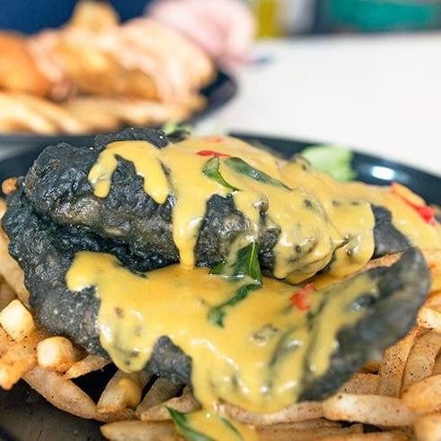 Charcoal Cod Fish & Chips with Salted Egg Yolk Sauce