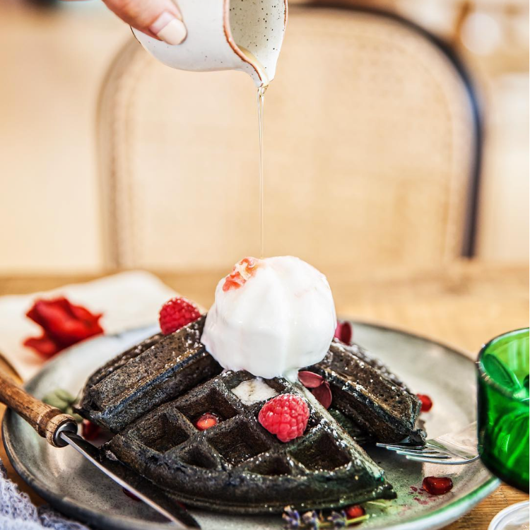 Charcoal Waffle with Ice Cream