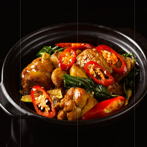 Braised Chicken with Garlic and Basil Leaves
