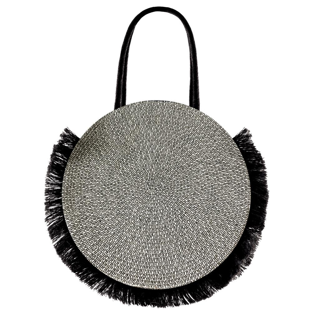 AIRLIE WOVEN CIRCLE FRINGED TOTE || NATURAL BLACK