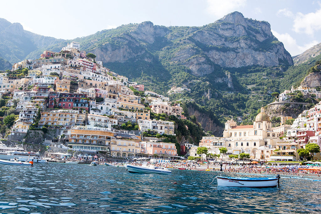 Positano From The Water - Carla Coulson Limited Edition Fine Art Print, travel photography, Italy, beaches, beach photography, amalfi coast, positano town, wall art,
