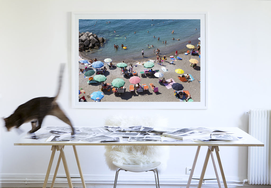 Atrani Umbrella Choreogaphy - Carla Coulson Limited Edition Fine Art Print, travel photography, Italy, beaches, beach photography, interior design