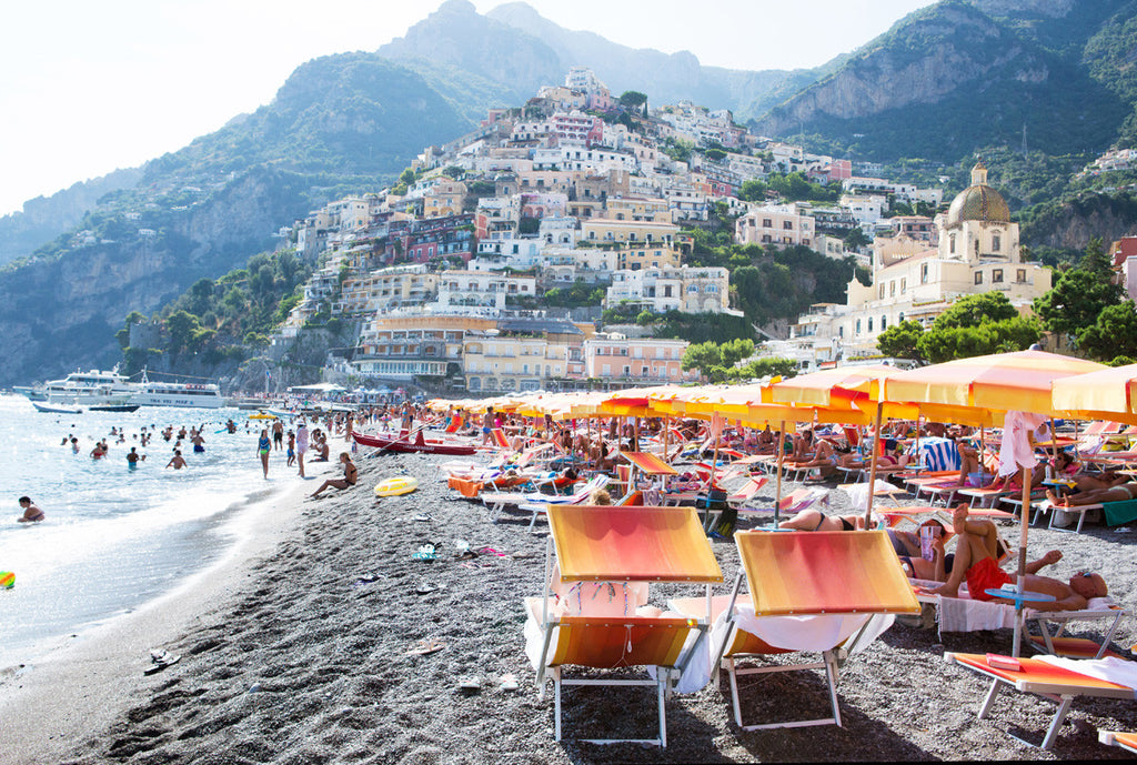 Positano Beach Full Sun - Carla Coulson Limited Edition Fine Art Print, travel photography, Italy, beaches, beach photography