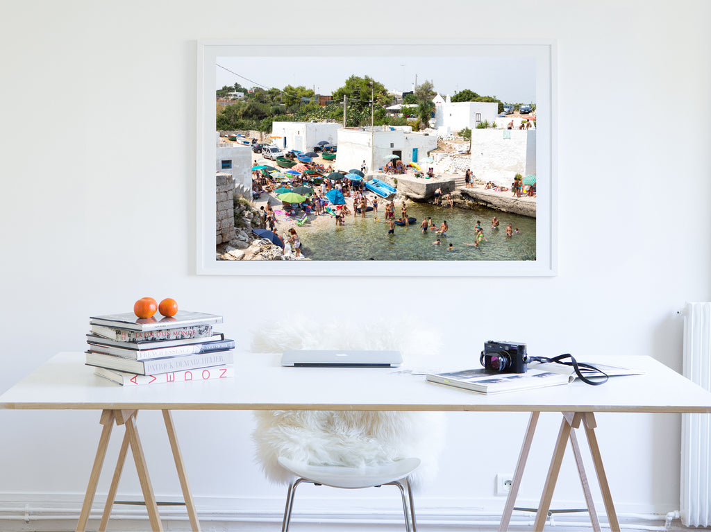 Houses Cala Del Paura Polignano A Mare - Carla Coulson Limited Edition Fine Art Print, travel photography, Italy, beaches, interior design