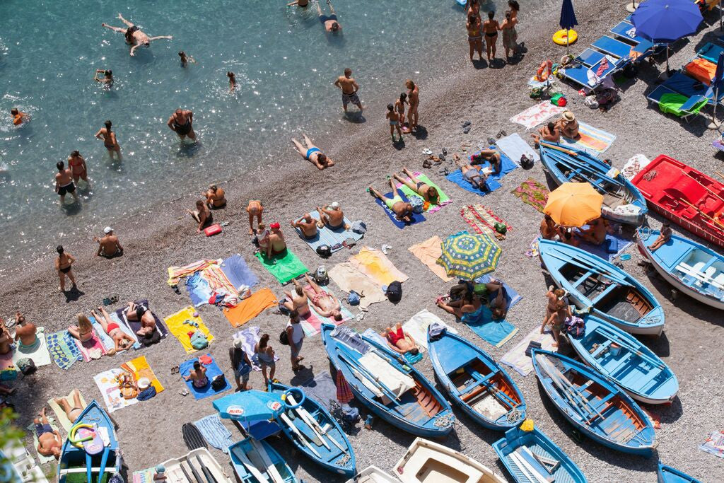 La Praia Beach Praiano - Carla Coulson Limited Edition Fine Art Print, travel photography, Italian beach, beach photography, blue fishing boats, italians at play, amalfi coast, summertime, positano