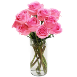 Bouquet of Long Stemmed Roses (Dozen) - With Vase