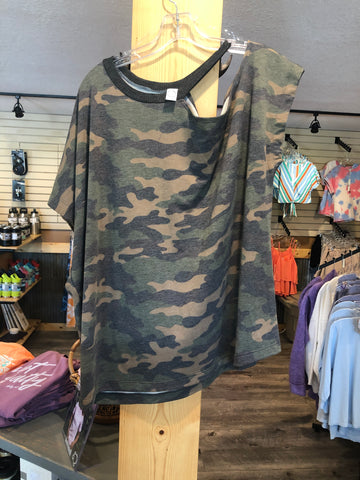 Camouflage Shirt With One Off The Shoulder Sleeve