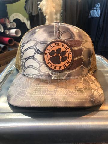 Krypto Clemson Trucker Leather Patch Hat