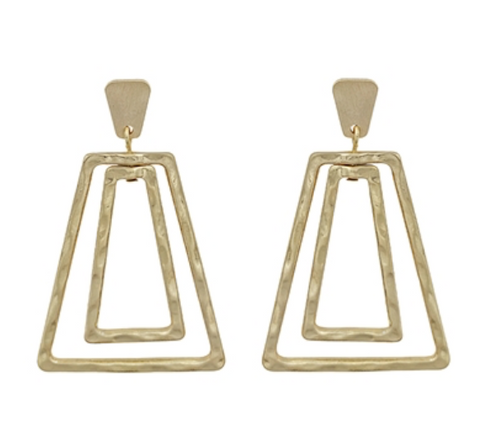 "Gold Double Trapezoid 2"" Earrings"