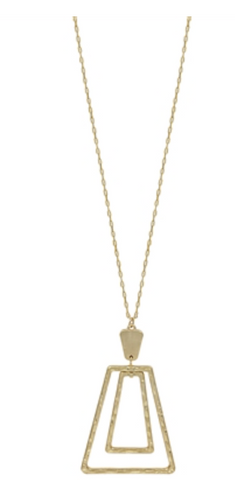 "Gold Double Trapezoid 34"" Necklace"