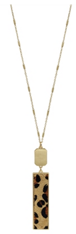 "Gold Rectangle and Cheetah Print 34"" Necklace"