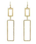 "Gold Open Rectangle 2"" Earrings"