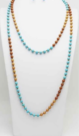 "Turquoise and Brown 60"" Knotted Necklace"