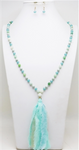 "Mint Natural Stone and Crystal Fabric Tassel 36"" Necklace"