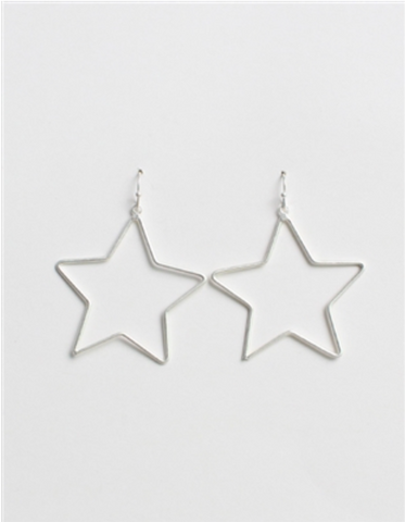 "Worn Silver Star 1.5"" Earring"