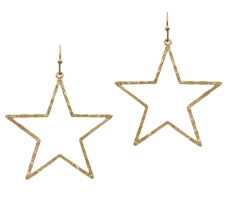 "Hammered Gold Star 2"" Earring"