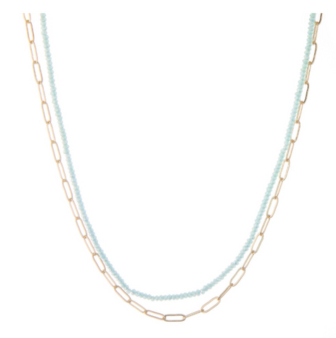 Short Layered Beaded Hera Link Necklace