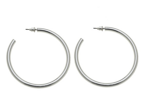 Satin Silver Hoop Earrings