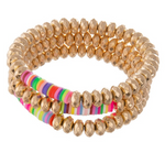 Worn Faceted Beaded Stretch Bracelet - Gold