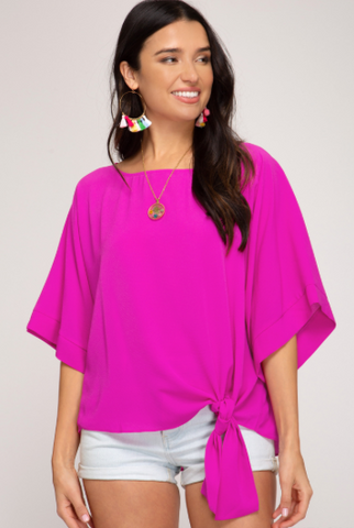 Kimono Sleeve Woven Top With Side Detail - Magenta