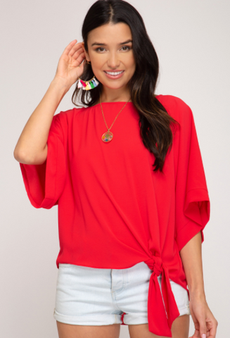 Kimono Sleeve Woven Top With Side Detail - Scarlet