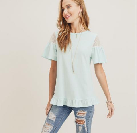 Lace Sleeve Ruffle Detail Top