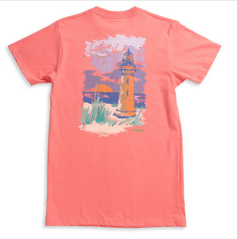 Southern Marsh Horizons Lighthouse SS Tee- Azalea