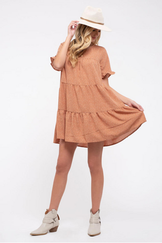 Clay Speckled Dot Tiered Dress