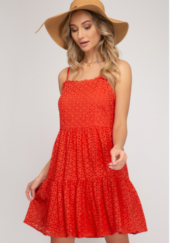 Sleeveless Eyelet Lace Dress with Lining and Lace Trim