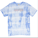 Shelly Cove Blue Tie-Dye Stripe Good Vibes Short Sleeve Tee