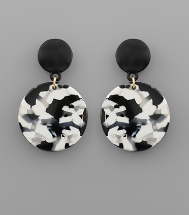 Acrylic Disc Dangle Earrings