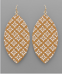 Patterned Cork Marquise Earrings