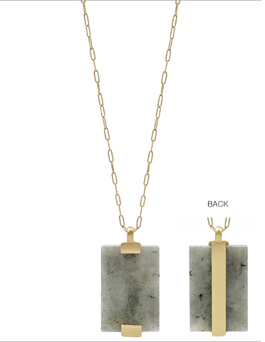 "Grey Natural Stone and Gold Bar 34"" Necklace"