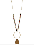 "Multi Wood Beaded 34"" Necklace with Gold Circle and Wood Accent"