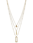 "Triple Layered Gold Teardrop and Bar 17""-19"" Necklace"