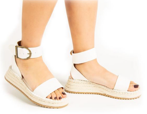 One Band Ankle Strap Wedge Sandal - White Croco
